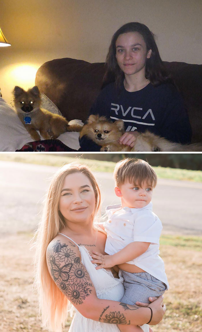 I'm Four Years Free From Heroin Addiction Today! Top Picture Was During Active Addiction, Bottom Pic Is Me Now With My 2-Year-Old Son. We Do Recover
