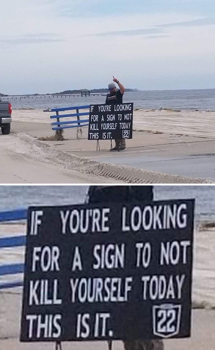 This Guy Was Standing Alongside Highway 90 In Biloxi, MS