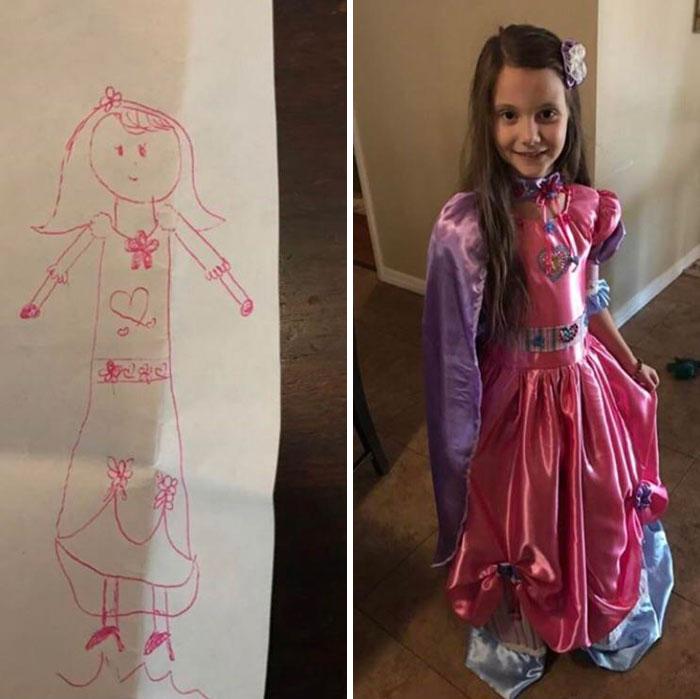 Dibujó el vestido de sus sueños y su abuela se lo hizo