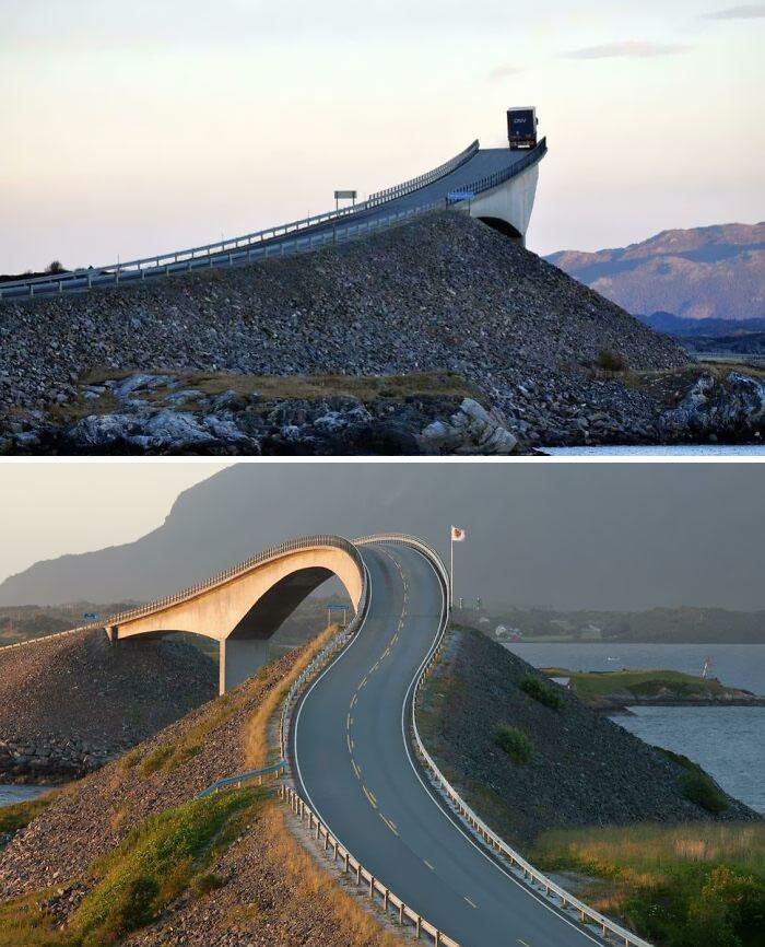 El puente de Storseisundet en Noruega