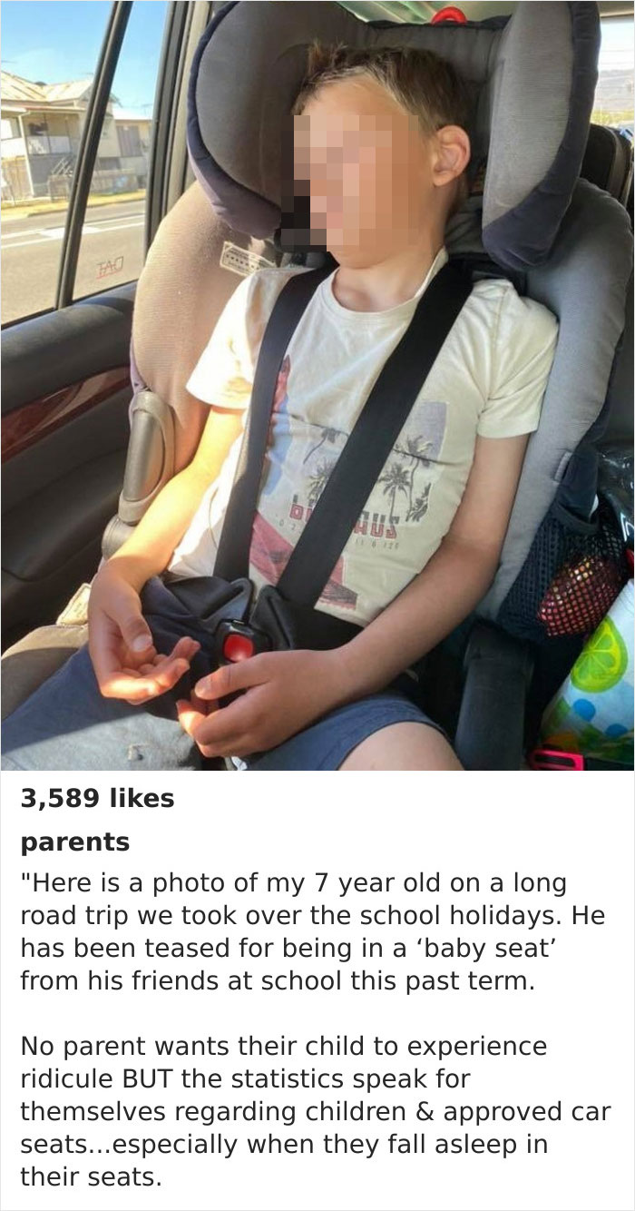7yo Gets Bullied At School For Sitting In A Car Seat, So Mom Waits Until He's Asleep, Takes A Photo Of Him, And Posts It On The Official Parents Magazine Instagram Page (855k Followers)