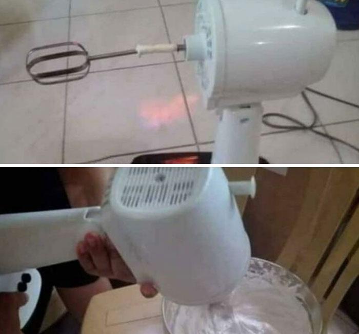 La batidora prohibida, hecha con un ventilador eléctrico