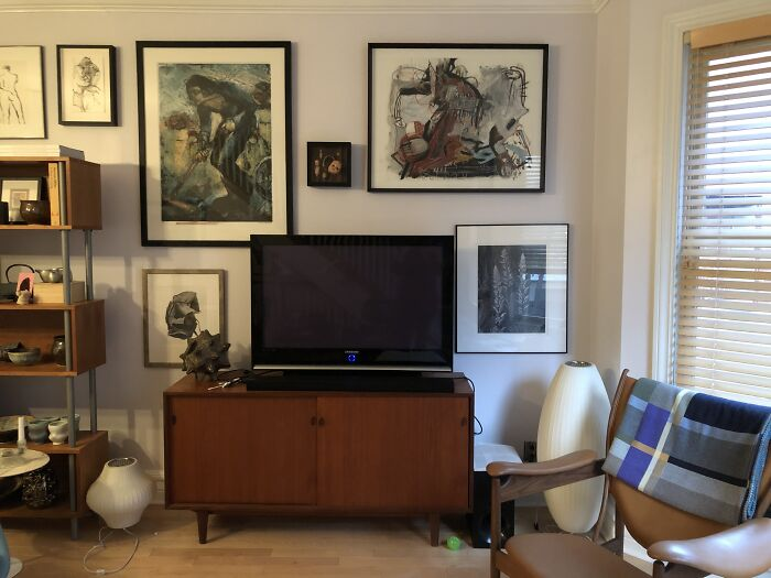 Art. A Lot Of Art. For The Last 35 Years, We've Been Buying Art. This Is One Wall. We Live In A Four Story Town House. The Stairwells Are Full