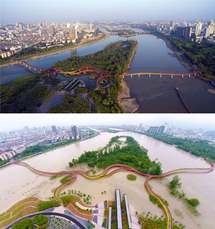 Yanweizhou Park Was Designed To Flood During The Monsoon Season To Help Prevent The City Of Jinhua, China From Flooding