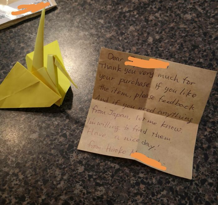 My Package From Japan Just Came In And The Owner Sent Me A Note With Some Origami