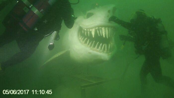 Underwater Shark Statue At Lake Neuchâtel