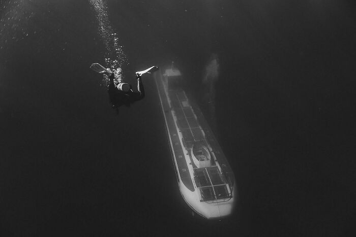It Seems People Enjoyed My Last Post- Here Is Another One I Took Of The Coast Of O'ahu, Hawaii, Where A Tourist Submarine Came Upon As Out Of The Void While We Were Diving...
