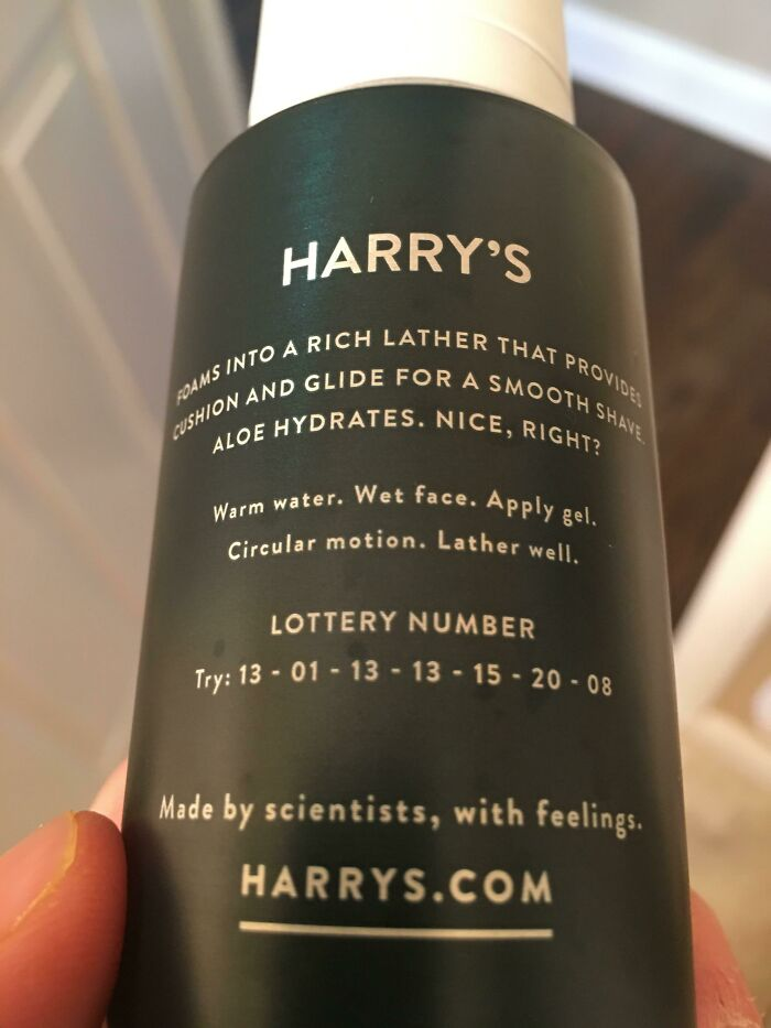 This Shaving Cream Has Lottery Numbers, And More