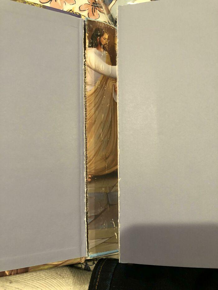 The Book Binding On My Daughter's Bible Broke Revealing A Hidden Jesus