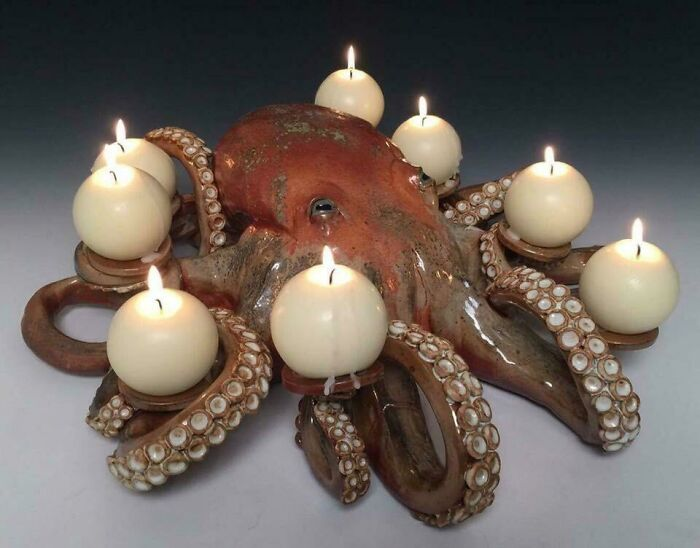 This Octopus Candle Holder That My Sister Hand Made At Her Pottery Shop