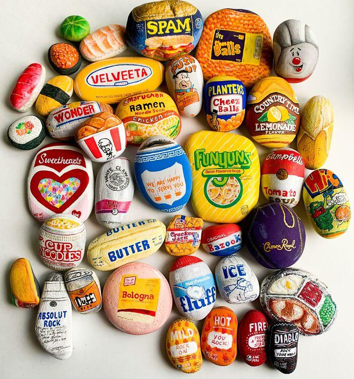 My Hand-Painted Food Rocks