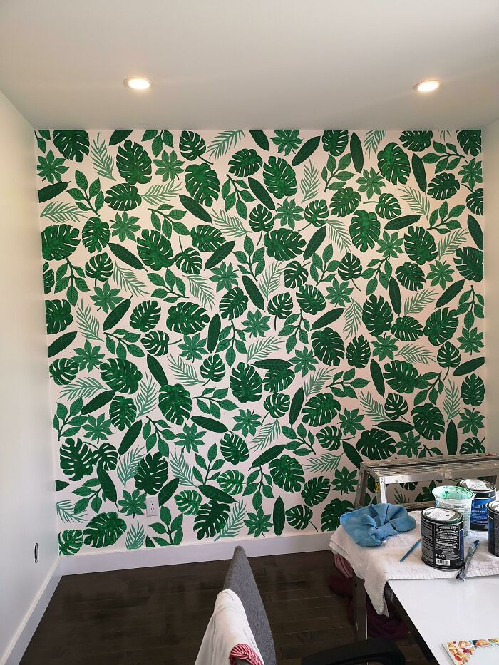 """Finally Done With My Hand Painted """"Wallpaper""""!"""