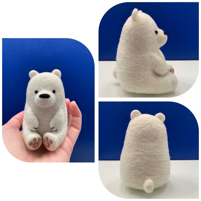 I Needle Felted Ice Bear (Made 100% From Wool)
