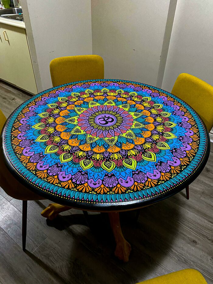 My Quarantine Project: I Painted A Mandala On An Old, Beat-Up Table