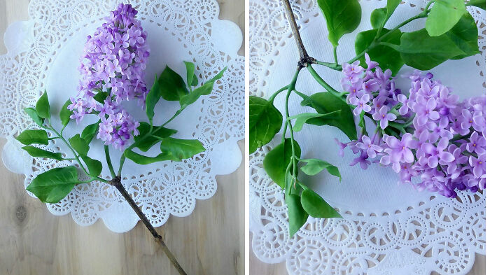 I Made A Lilac Branch Out Of Cold Porcelain.very Long And Painstaking Work, A Lot Of Small Parts,stamens,but It's Worth It