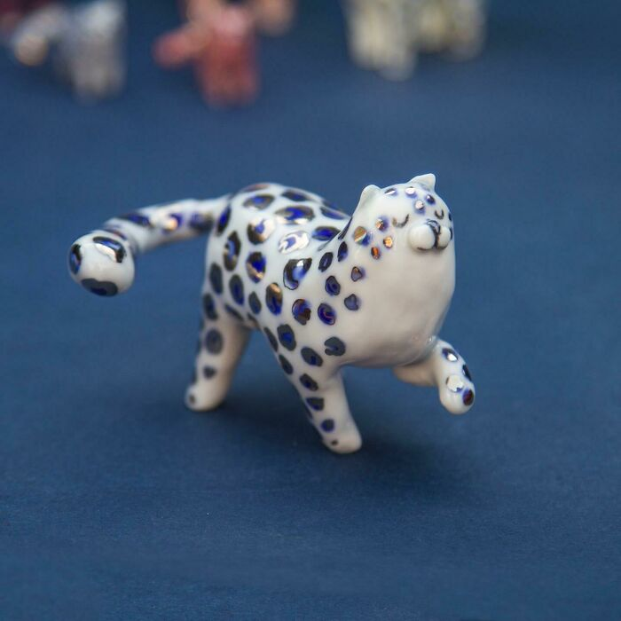 A Little Porcelain Snow Leopard With Silver Spots, Made By Me!