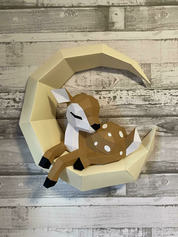 For Those Who Enjoyed My Fox Paper Sculpture ... Here Is His Pal, The Fawn! Hanging Sleepily In The Nursery