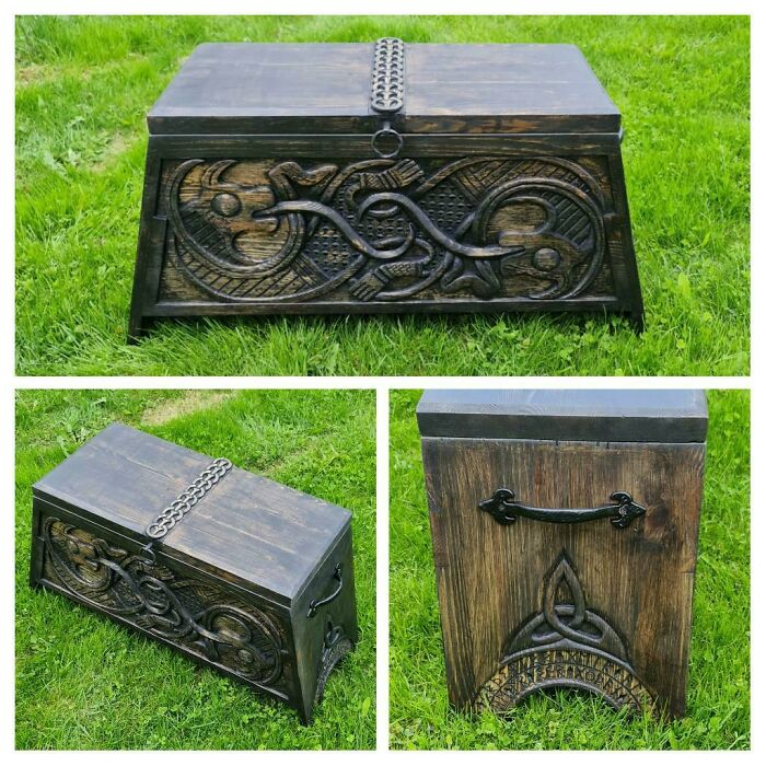 Viking Style Chest I Made For My Wife. The Carvings Are Inspired By The Carvings Found On The Oseberg Ship