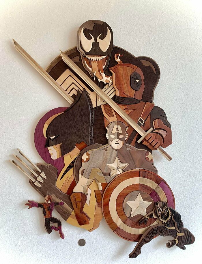 Marvel Mayhem. Made From Different Woods. All Natural-No Stains Or Dyes. Collaboration With Tom Whalen. 3'x2'