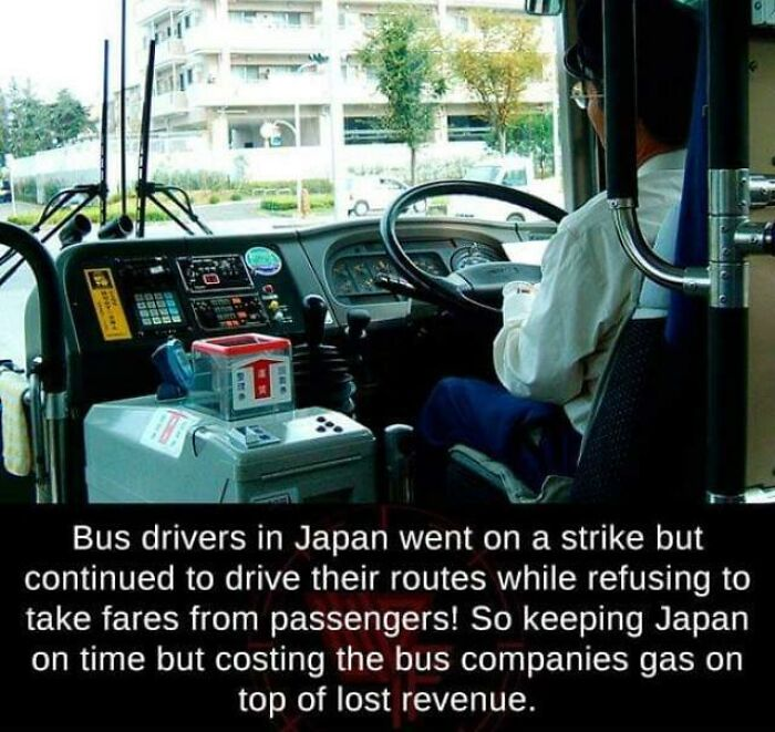 Bus Drivers In Japan, Striking In Such A Way That People Don't Suffer