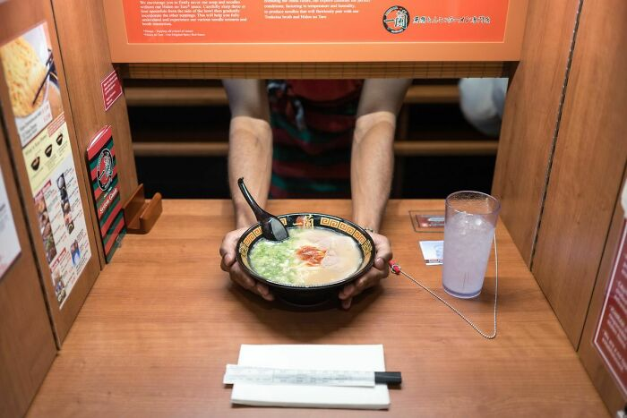 In Japan Some Restaurants Are Really Private, You Are Sitting In A Corner, Where No One Sees You, A Door Opens In Front Of You, The Chef's Hands Come Out And Serves You Without Looking