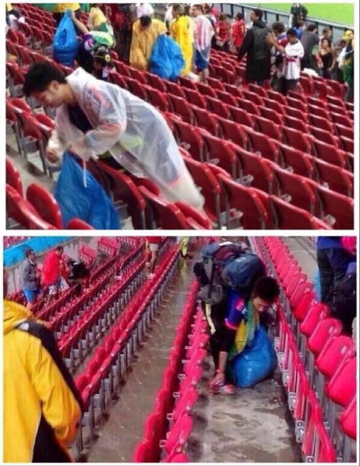Japan's Fans Cleaning Up Their Sections After Their Match vs. Ivory Coast. Much Respect