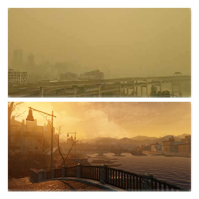 One Is Portland, The Other Is Fallout 4..............fallout Has Cleaner Air