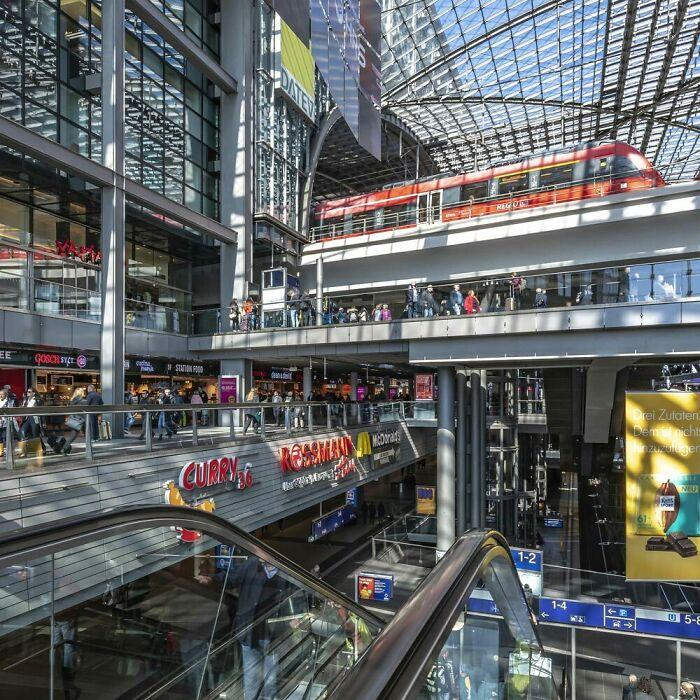 Inside The Main Railway Station In Berlin, Germany