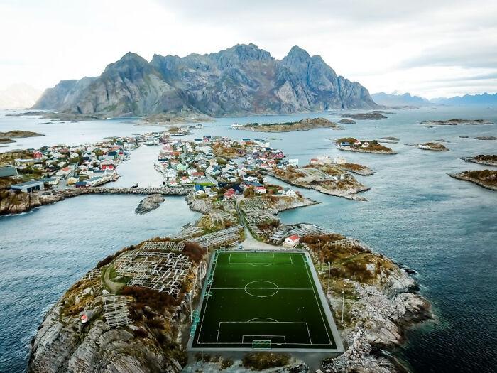 Henningsvaer Fotballbanen (Soccer Field) In Norway