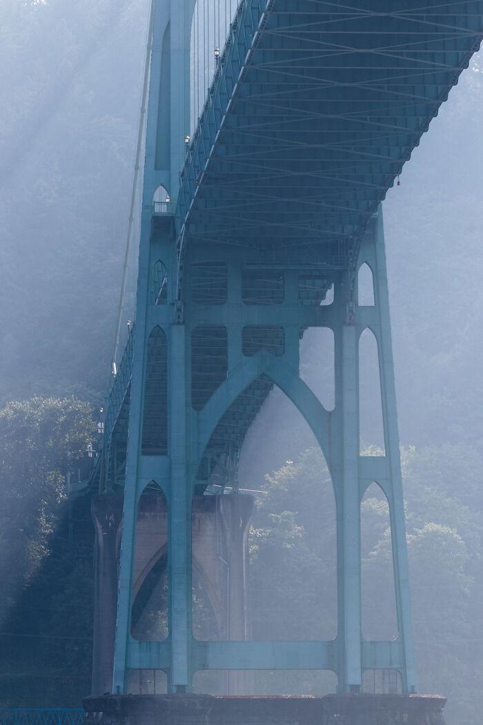 St. John's Bridge Across The Willamette River In Portland, USA