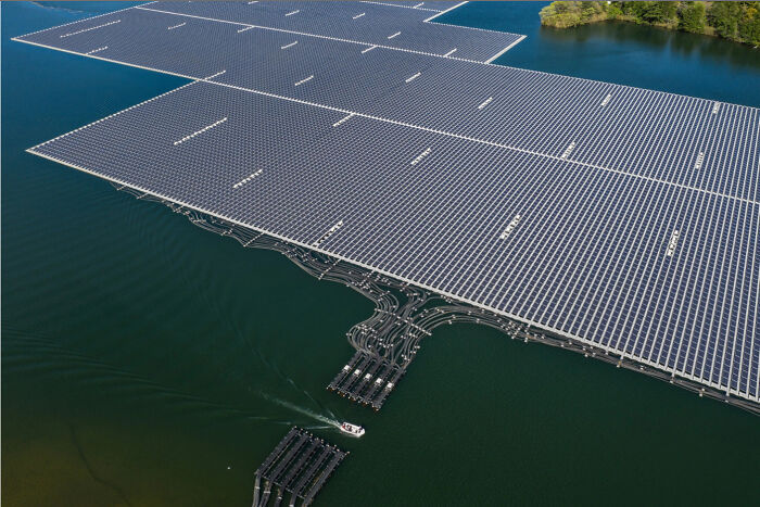 Floating Solar Power Plant In Japan On The On The Yamakura Dam Reservoir