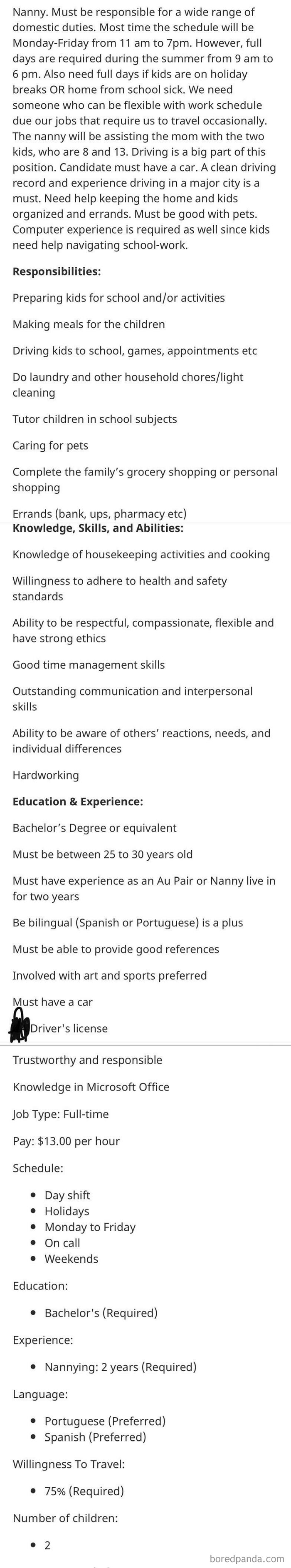 Be A Very Specific Age, Have A Bachelor's Degree, Be A Nanny, Housekeeper, Teacher And Personal Shopper...and More, All For $13/Hr