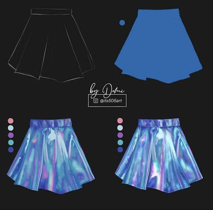 Cómo dibujar digitalmente una falda holográfica