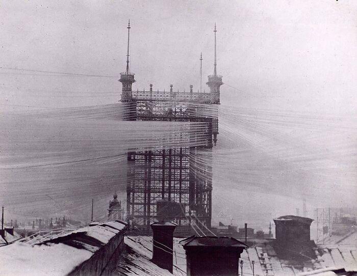 La torre telefónica de Estocolmo con unas 5.500 líneas telefónicas, 1890