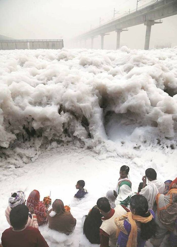 People Offering Prayers At River Yamuna, India, Which Is Frothing From Industrial Waste
