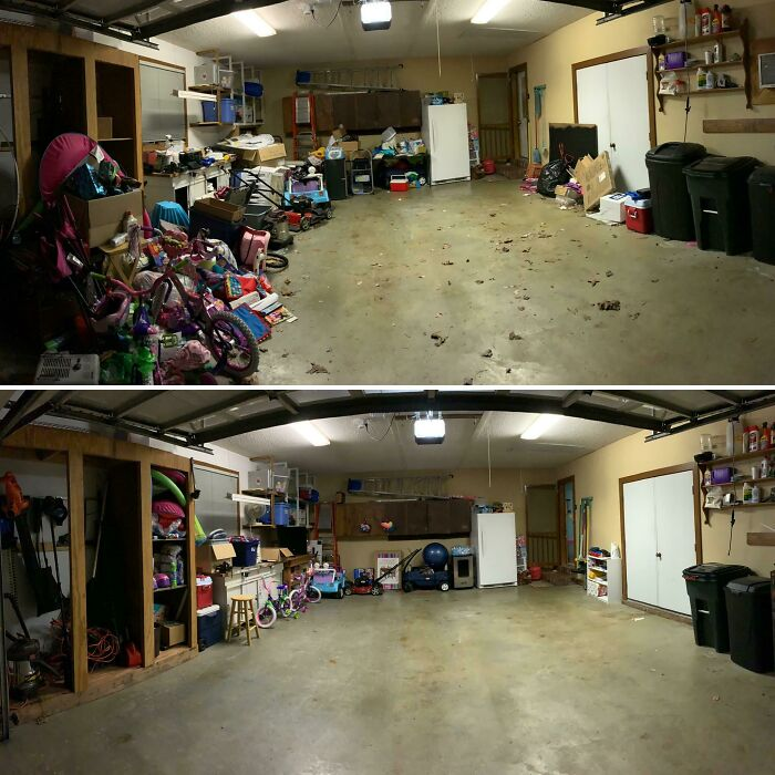 My Wife Is Gone On A Work Trip. I Decided To Surprise Her By Cleaning The Garage. It's Not A Top Notch Job, But I'm Happy With It. I Can't Wait For My Wife To Get Home!