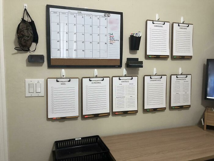 """Created This """"Work Command Center"""" For My Son Who Constantly Juggles Multiple Different Freelance Projects With Multiple Different Deadlines. Whiteboard Calendar Is Used To Keep Track Of Deadline Dates And Clip Boards Keep Track Of Notes And Updates On The Projects"""