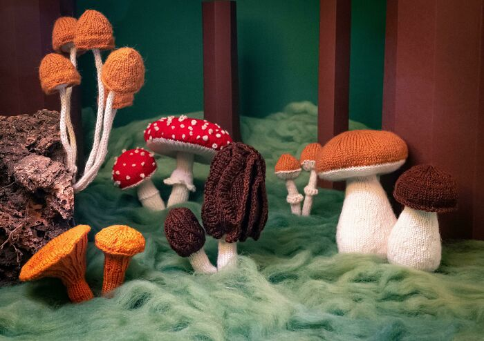 All The Mushrooms I Knit In The Past Year In One Picture
