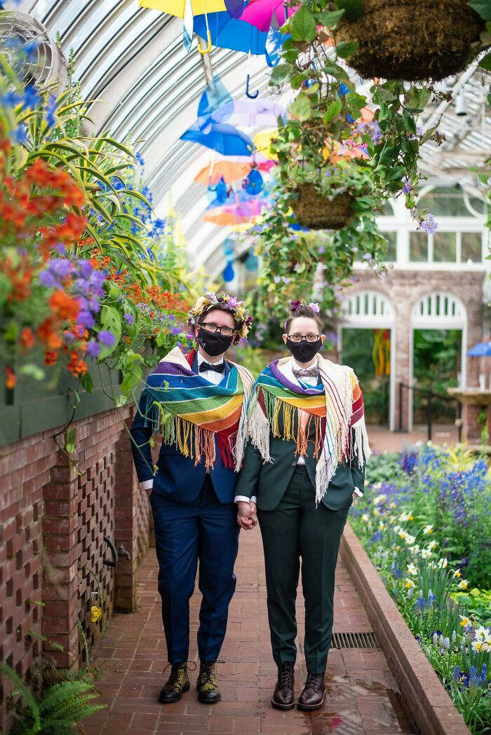 It's Lesbian Visibility Day, So There's No Better Day Than Today To Share The Rainbow Shawls I Knit For Our Big Lesbian Wedding!