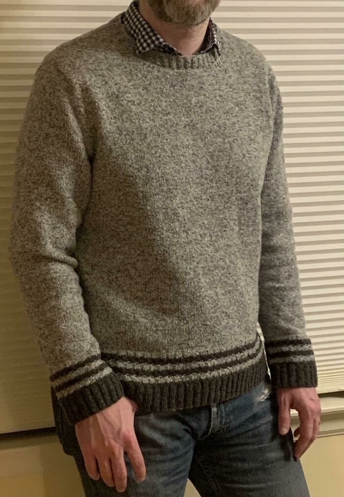 I'm A Guy Who Normally Knits Socks And Scarfs And Hats For My Family. I Finally Knit A Sweater For Myself