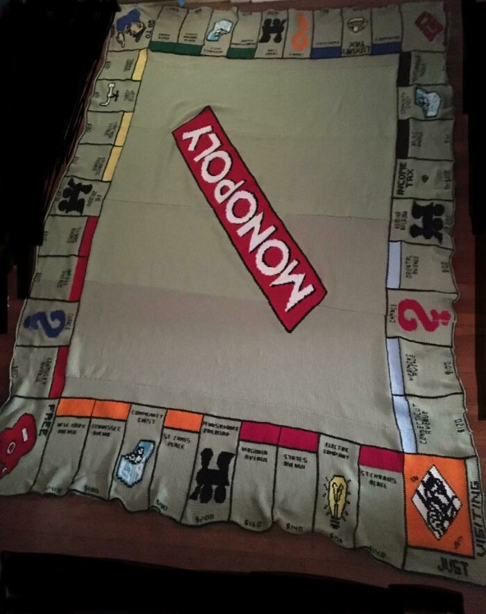 Knitted Monopoly Board Blanket