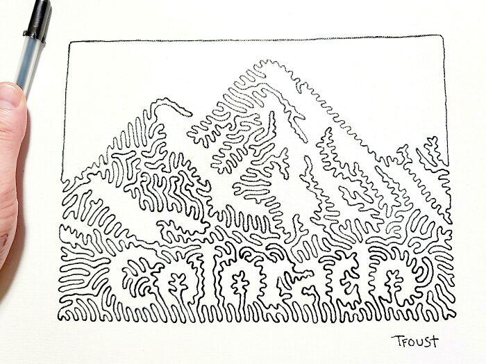 Estoy trabajando en un libro de imágenes con cada estado dibujado con una línea. Anoche terminé el séptimo estado