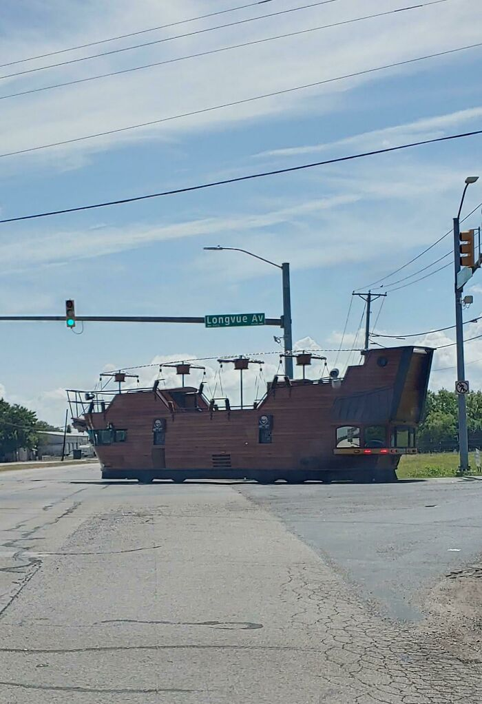 There Was A Massive Pirate Ship Driving Around My Neighborhood