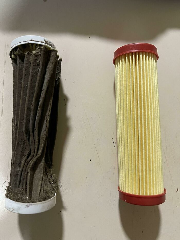 The Air Filter I Just Took Out Of My Lawnmower vs. The One I Replaced It With