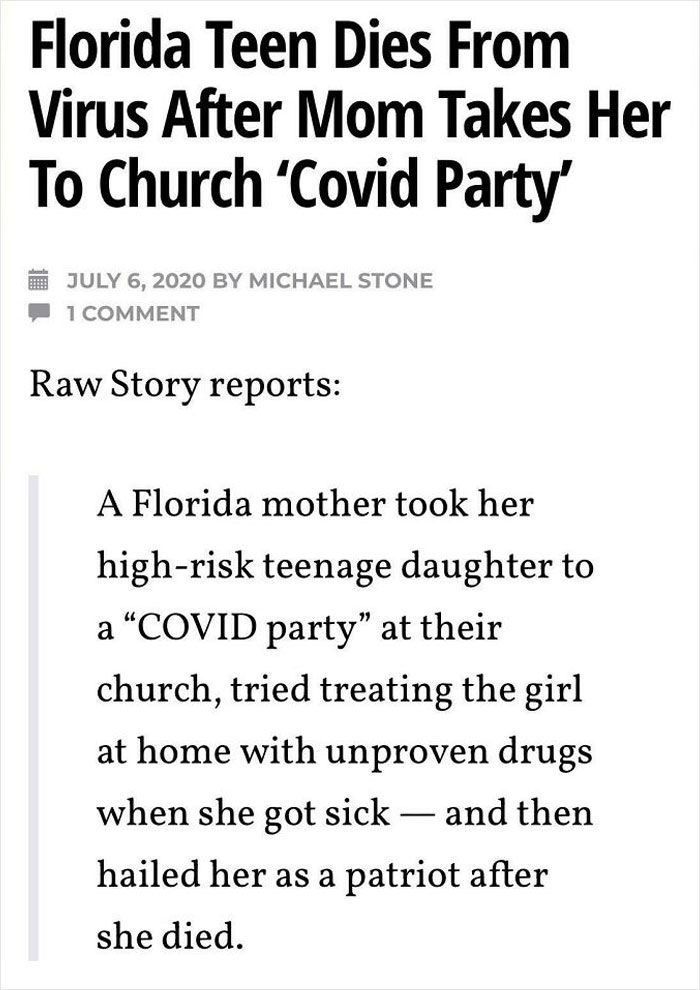 """Florida Teen Dies From Covid-19 After Mom Takes Her To Church """"Covid Party"""""""