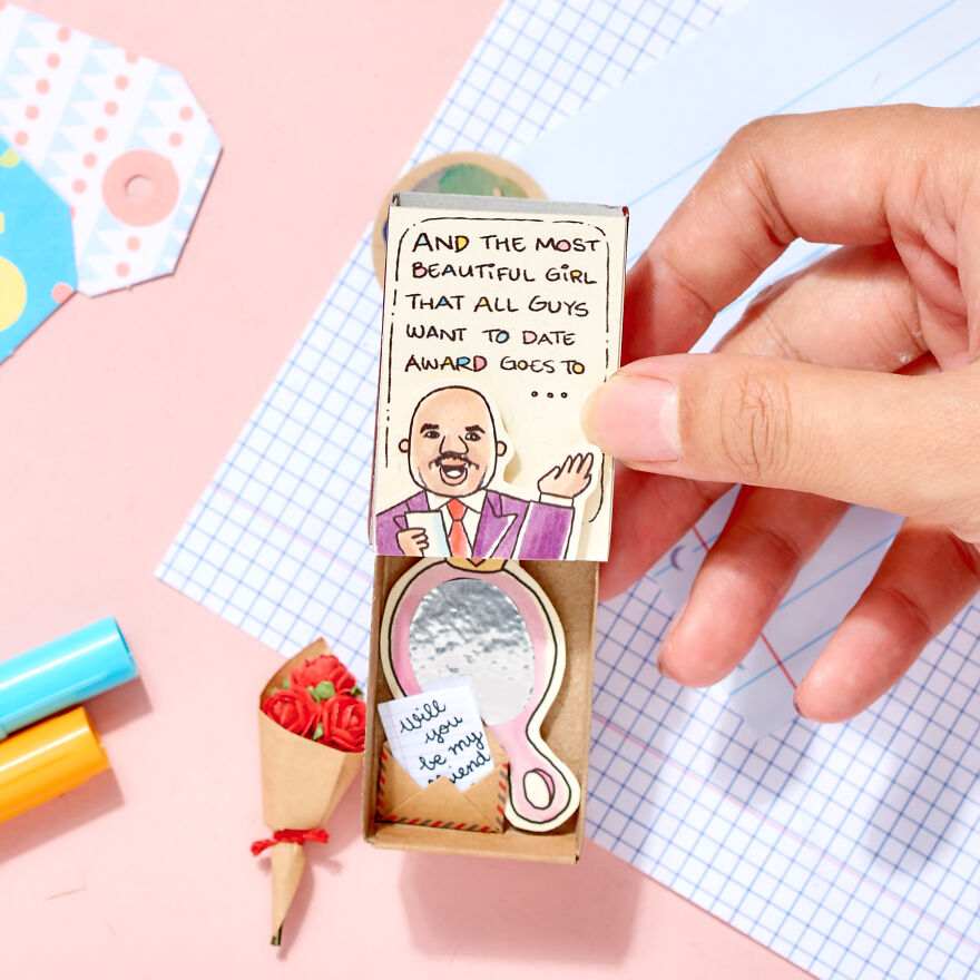 """Most Beautiful Girl Award """"Will you be my Girlfriend"""" with Mirror Matchbox Love Card"""