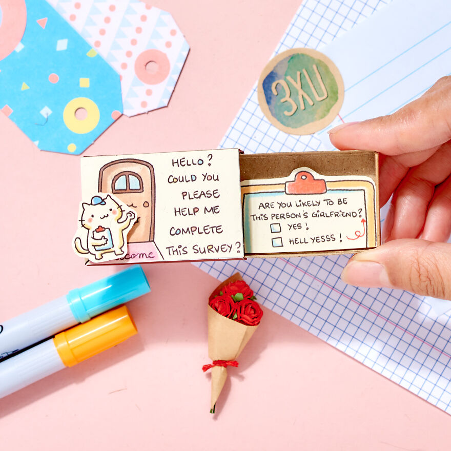 """Cute Personalized Proposal Card """"Help me complete this survey"""" Matchbox Card"""