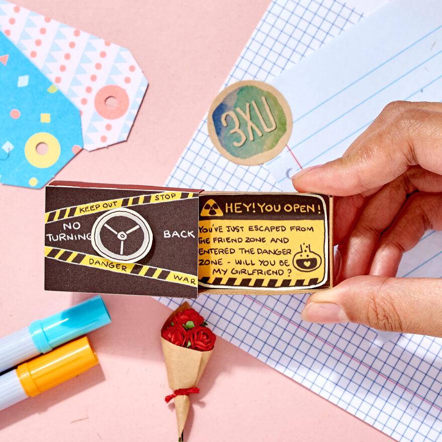 "Friend Zone Proposal Card ""Will you be my Girlfriend / Boyfriend"" Matchbox Card"