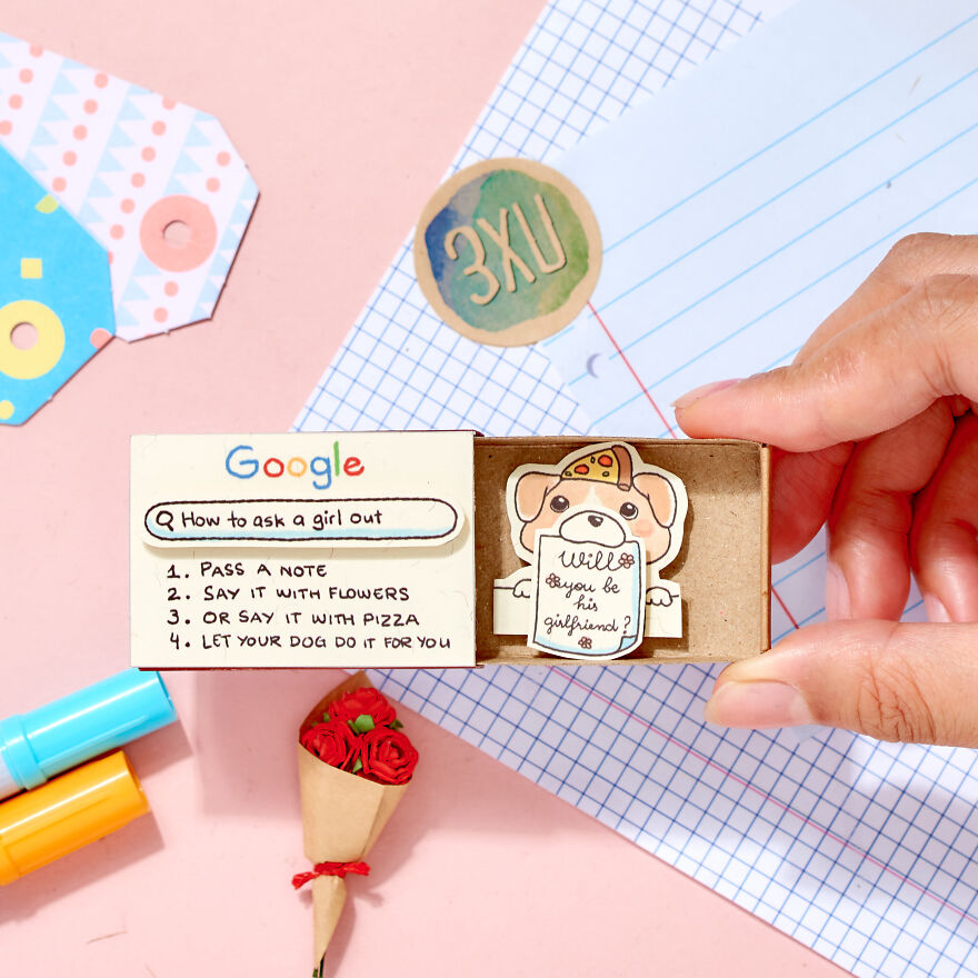 """Cute Proposal Card Google """"How to Ask a Girl / Guy out"""" Matchbox Card"""