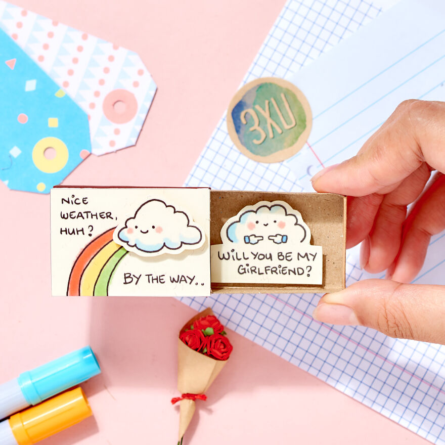 "Cute Proposal Card ""Will you be my Boyfriend/ Girlfriend/ Marry me"" Matchbox Card"
